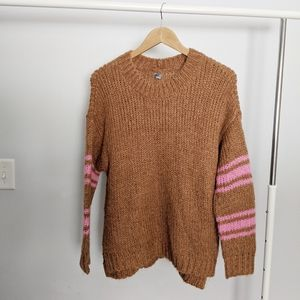 Aerie Camel Chunky Knit Striped Pullover Sweater